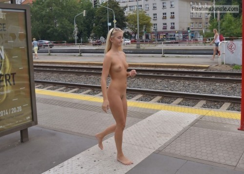 Petite blonde <strong>caught naked</strong> next to railway