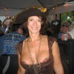 Middle age cougar with hat intentional brown nipples slip