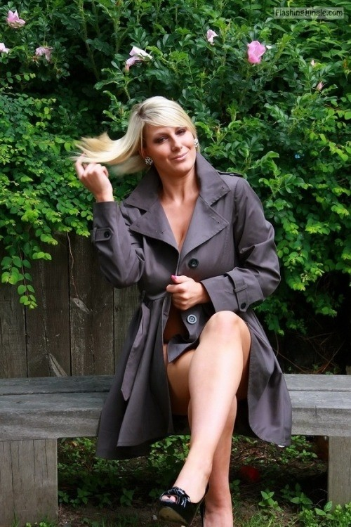 There is nothing under the coat public flashing milf pics