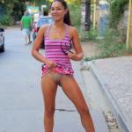 flashingthepublic:Flashing pantyless in the street!