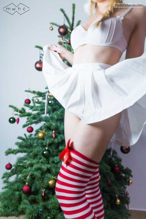 mywishhercommand: Santa's little helper came out to play…Merry... no panties