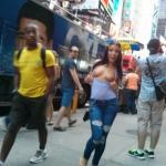 nudeandnaughtyflashing: Adriana Chechik flashing in NYC Follow…
