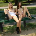 publicexposurearchive: 2 girls 1 bench
