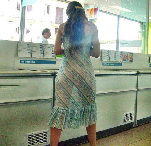 shoppingbabes5:See thru dress while shopping … that guy in the... public flashing