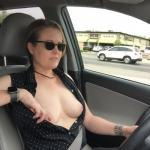 exhibitionist-wife:Trying hard to avoid a speeding ticket.