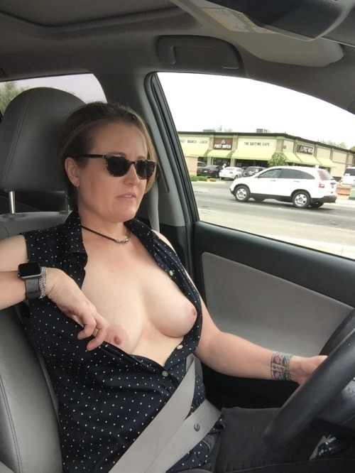 exhibitionist wife:Trying hard to avoid a speeding ticket. public flashing