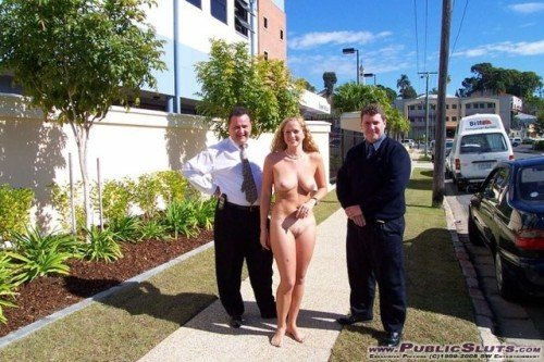 ilja1:Office slut walking with collegues outside proudly showing... public flashing