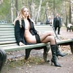 carelessinpublic:Almost nude in a park and showing her boobs and…