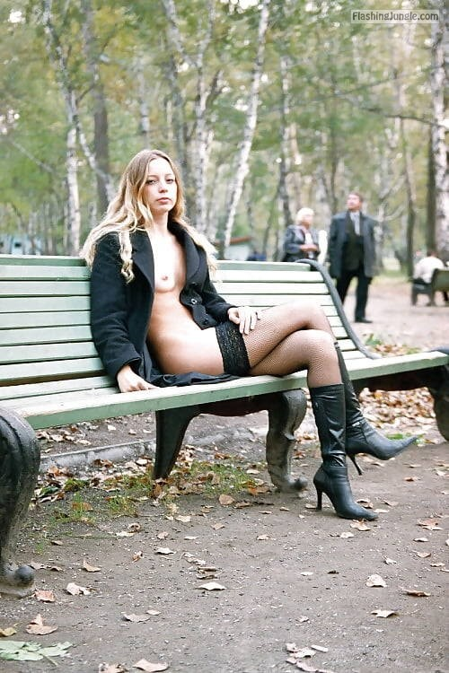 carelessinpublic:Almost nude in a park and showing her boobs and... public nudity
