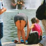 pantyless-upskirt-love:Fountain upskirt oops