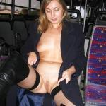 carelessinpublic:Almost nude inside a bus and showing her boobs…