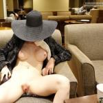 miaexhib:Naked under my coat in a Starbucks!