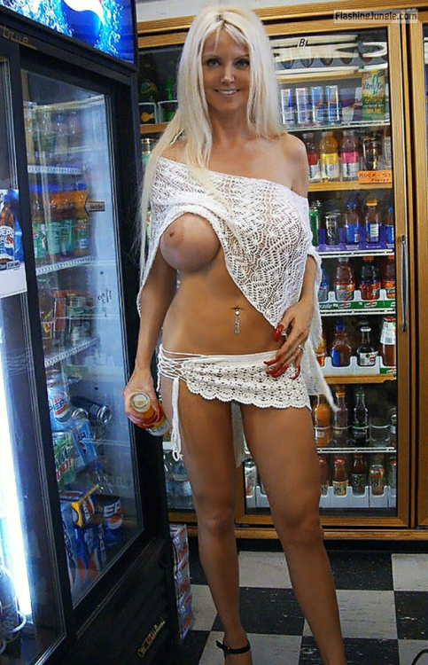 showitgirl:Tall busty milf about to get a free... public nudity