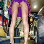 carelessinpublic:Bending in a short skirt in a gas station and…
