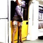 carelessinpublic:In a short dress inside a train and showing her…