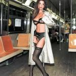 carelessinpublic:Inside a train in a trenchcoat and showing her…