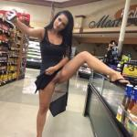 shoppingbabes5: Woman takes a selfie with a leg up on a display…