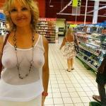 Wife in white see through blouse no bra at seaside