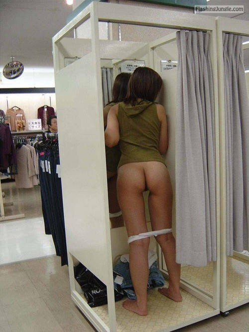 shoppingbabes5:Woman drops panties in the store dressing room … public nudity
