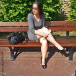 morgane-love: Taking my panties off on a public bench in a…