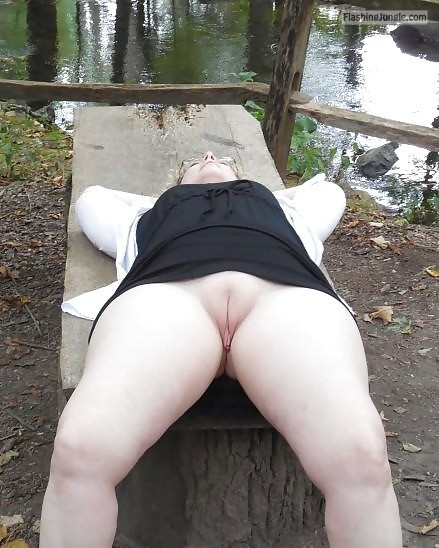 funupstatecpl: Went to a park with hubby and his friend. Good... no panties