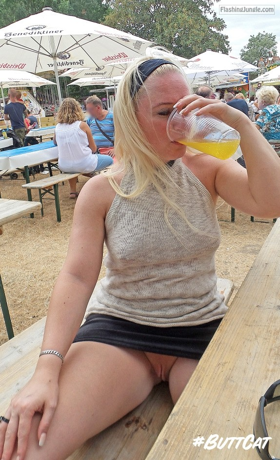 Pantieless blonde drink beer and flashing pussy public flashing