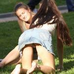 VALIA Intentional Upskirt Panty Flashing in Public