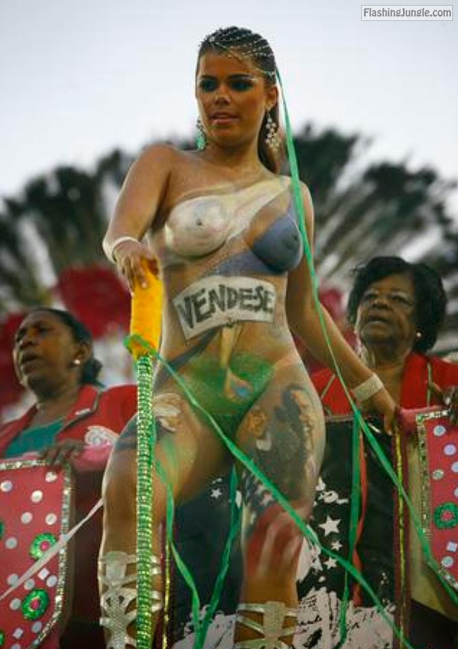 Curvylicious Brazilian body paint babe at the carnival public flashing boobs flash bitch