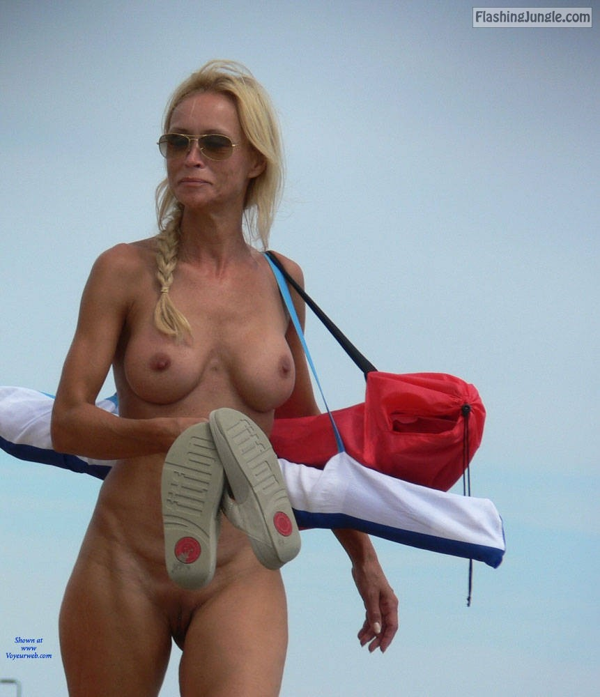 Mature female nudist exposing her hot boobs & bald beaver pussy flash public nudity nude beach no panties mature boobs flash