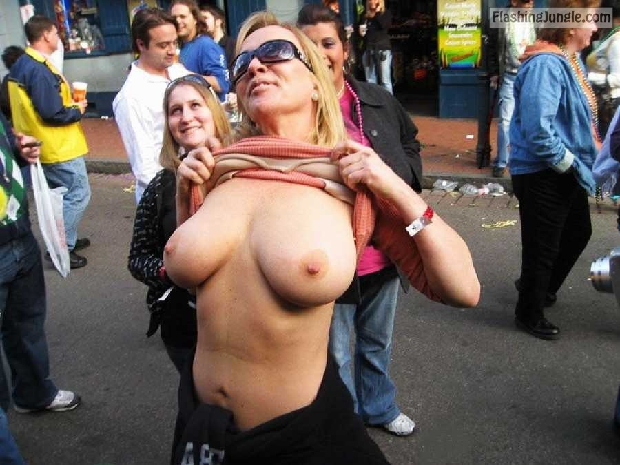 Flashing incredible big breasts in the crowded place public nudity public flashing mature boobs flash bitch