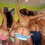 Bunch of stunning college babes flashing their hot booties at the party