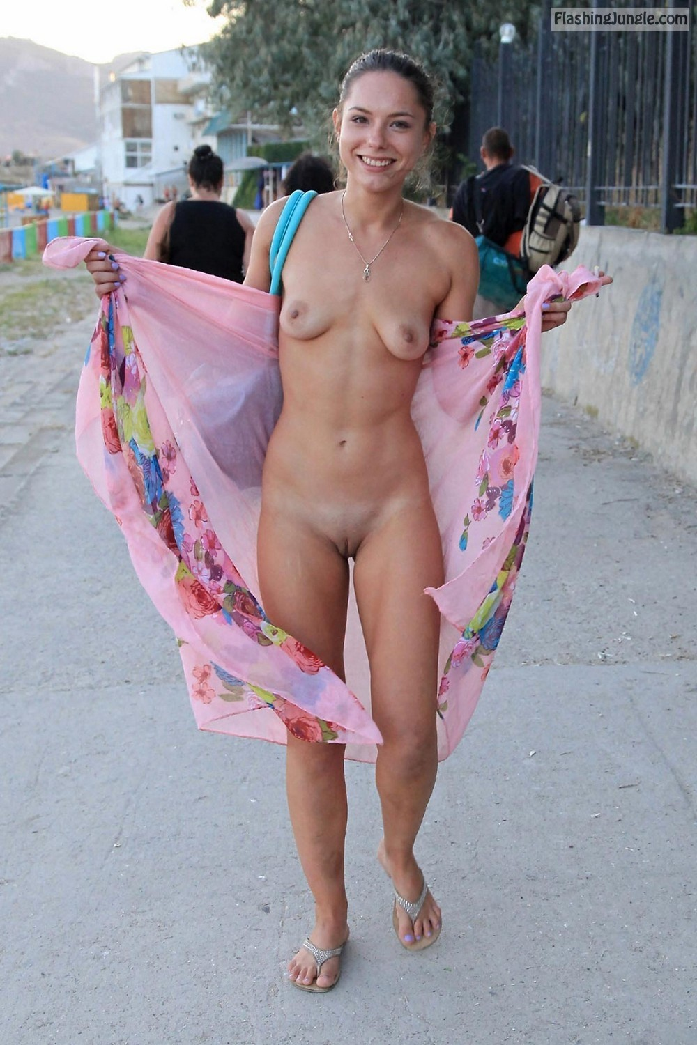 Cutie flashes her tight body on the way to the beach pussy flash public flashing no panties boobs flash bitch