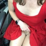 Flashing pussy under red dress at work