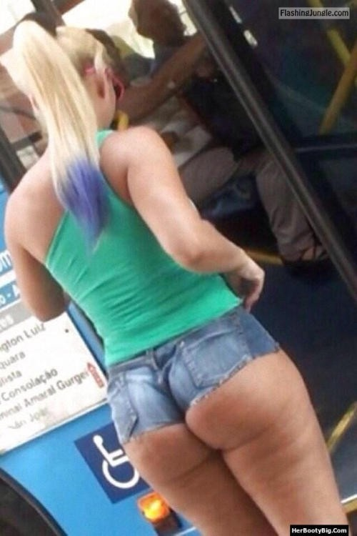 Underbutt in tight denim shorts. Blonde in public bus voyeur public flashing ass flash
