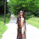 Slut wife without underwear on taking a walk