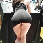 Wide booty narrow hips tight black dress hostess on fair