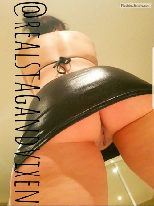 Under the slutty leather mini skirt upskirt no panties