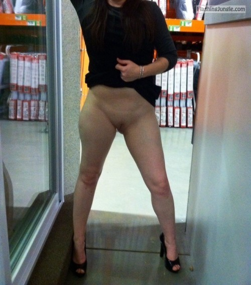 Bottomless and fuckable at work public flashing no panties milf pics