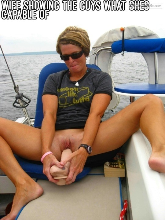 Wife on yacht is trying to shove massive dildo inside her cunt public sex no panties milf pics bitch