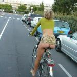 Pantyless on bicycle Blonde milf ass on the street