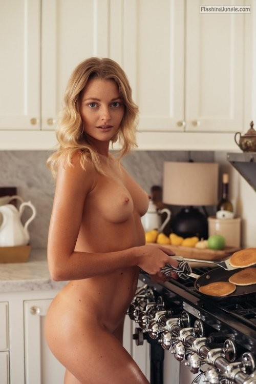 Nude in kitchen Megan Samperi
