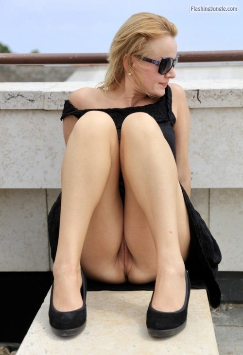 Damn hot MILF blonde in black dress and heels knickerless upskirt pussy flash public nudity public flashing no panties milf pics