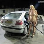 Curvy blonde refueling car fully naked