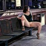 Sitting alone i public street flashing pantyless bare cunt