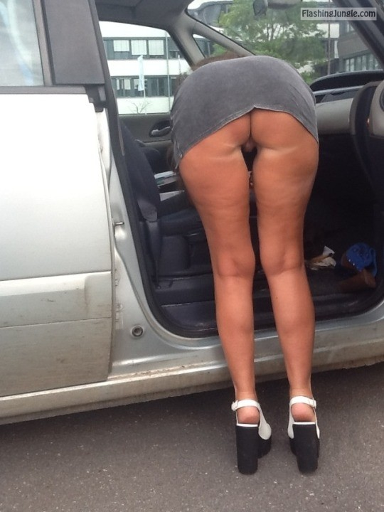 Slim mature wife bent over in the car while pantyless upskirt public flashing no panties milf pics mature howife ass flash