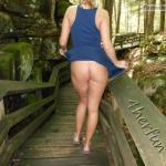 Blue dress no knickers on wooden path