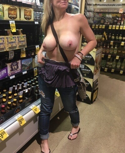 <strong>Topless</strong> flashing in supermarket huge boobs blond <strong>wife</strong>
