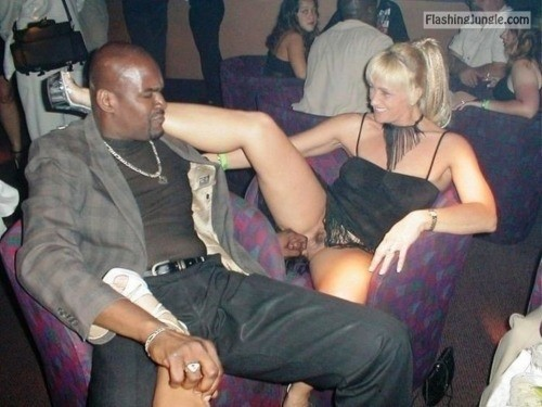 Black man touching my wifes cunt at the club pussy flash public sex public flashing no panties milf pics howife bitch