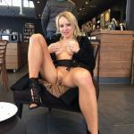 French blonde wife flashing at cafe