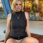 Old cougar pantyless shopping
